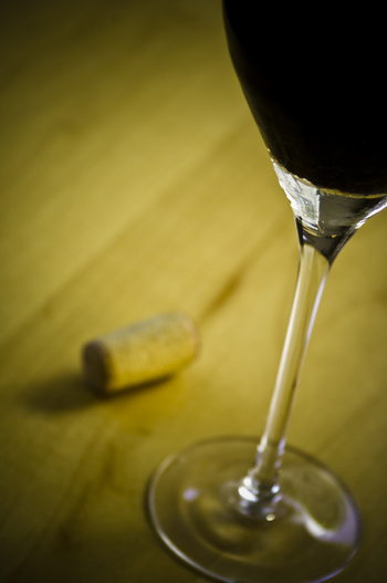 Glass of Red Wine with Cork
