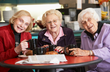 Senior women drinking tea together